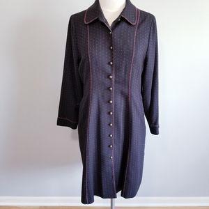 VINTAGE WOOL SHIRT DRESS LONG SLEEVE WOMEN
